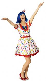 Clown Kostüm Damen sexy Kleid Punkte Zirkus Fasching Karneval KK