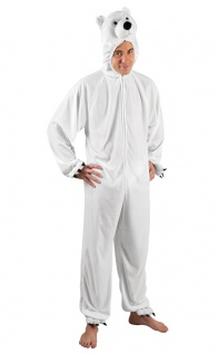 Eisbär Kostüm Herren Plüsch Polar-Bär Tier Herrenkostüm Erwachsene Fasching KK