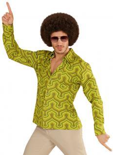 Hippie Kostum Herren Hippiehemd 70er Jahre Retro grün Herrenkostüm Karneval KK