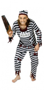 Sträflingskostüm Horror Kostüm Herren blutige Zombie Halloweenkostüm KK