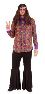 Flower Power Hemd Damen Hippiehemd Blumen Peace-Kette 60er 70er Jahre Karneval K
