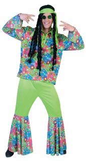 Peace Flower Power Kostüm Herren 60 er Jahre Hippie-Hemd Schlaghose Karneval KK