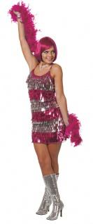 Disco-Kleid pink Kostüm 80er Jahre Glamour Show Damen Fasching Karneval KK