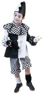 Pierrot Kostüm Kinder Clown Harlekin Narren schwarz weiß Kinderkostüm Fasching K