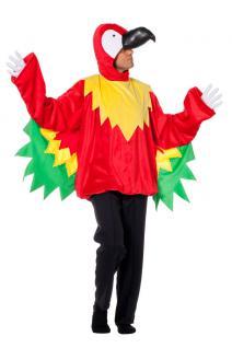 Papagei Kostüm Herren Papagei-Oberteil Kopf Karneval Vogel-Kostüm Herren-Kostüm