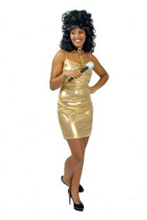 Disco Kostüm Damen sexy 70er Jahre Kleid glänzend gold Karneval Fasching KK