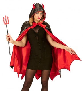 Teufel Kostüm Damen Teufelin Halloweenkostüm Umhang Teufelshörner Teufelsgabel