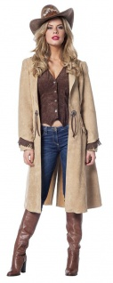 Cowgirl Kostüm Damen-Kostüm Cowboy Mantel Wildleder Optik Western-Kostüm Rodeo K