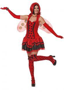 Marienkäfer Kostüm Damen sexy Käfer Damen-Kostüm Marienkäfer-Kleid Karneval KK