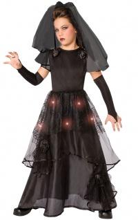 Halloween Braut Mädchen-Kostüm Zombie Gothic Horror schwarz lang mit Licht KK