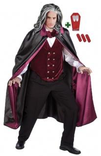 Vampir Umhang Herren Gothic Dracula Herrenkostüm mit Horror-Zähne Halloween KK