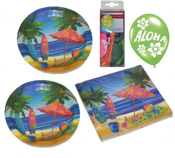 Party Set XXL Sommer Beach 32 Teile Strand-Motiv + Aloha Ballons Teller, Becher