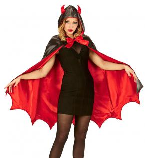 Teufel Kostüm Damen Halloween Teufel mit Kapuze mit Teufelshörner Damenkostüm KK