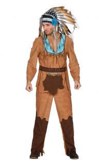 Indianer Kostüm Herren Häuptling Apache Fasching braun türkis Karneval Luxus KK