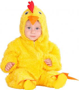 Karneval Klamotten Kostüm Hühnchen gelb mit Kopf Baby Karneval Tier Kinderkostüm