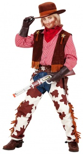 Cowboy Kostüm Kinder Jungen Cowboy-Weste Sheriff-Stern Hose Halstuch Western KK