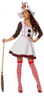 Schneemann Kostüm Damen-Kostüm Schneefrau Erwachsene Schneemann-Hut Karneval KK