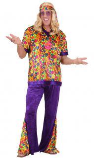 Hippie Hippie-kostüm Flower Power 60er 70er bunt Herren-Kostüm KK
