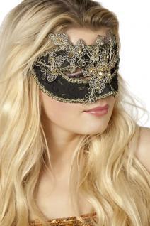 Venezianische Masken Venezianisch schwarz gold mit Steinchen Augen-Maske Venedig
