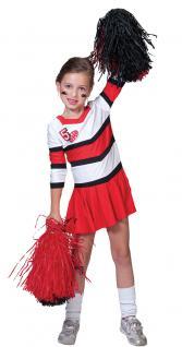 Kostüm Cheerleader Uniform Kinderkostüm Mädchenkostüm rot-weiß Karneval KK - Vorschau