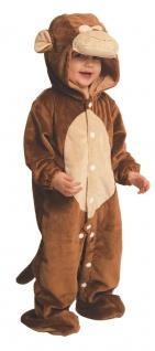 Affenkostüm Kinder Affe Plüsch Overall mit Kapuze Baby Tierkostüm Karneval KK