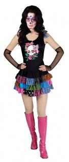 La Catrina Kostüm Damen kurzes Kleid mit Totenkopf Halloween KK