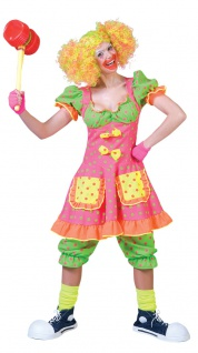 Clown Kostüm Damen Clownkleid und Hose neon Farben Fasching Karneval KK