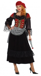 Piratenkostüm Damen Piratenkleid mit Kopftuch Piratenbraut Seeräuber Fasching K