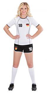 Kostüm Fußballspielerin Deutschland Dame Karneval Fanartikel Fußball WM 2018 KK