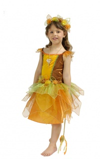 Waldfee Kostüm Kinder Fee Elfe-n Mädchen-Kostüm Blumenkranz Stäbchen Karneval KK