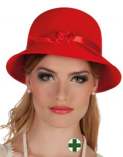 Charleston Hut rot 20er Hut 30er Hut Damen-Hut mit Perlenkette Karneval KK