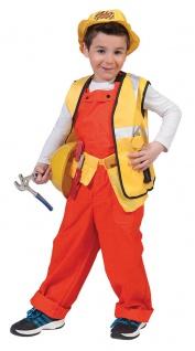 Bauarbeiter Kostüm Kinder Latzhose orange Jungen Mädchen Karneval Fasching KK