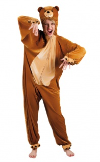 Bär Kostüm Damen Plüsch Bären-Kostüm Teddybär Braun Tier Damenkostüm Karneval KK