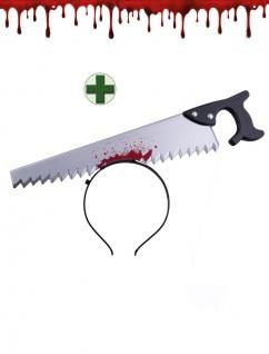 Halloween Haarreif Säge im Kopf blutige Säge INKL. Kunstblut 30 ml. Zombie KK