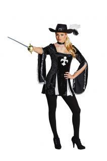Kostüm Lady Musketier Damen Kostüm sexy Kleid schwarz-silber Damenkostüm KK