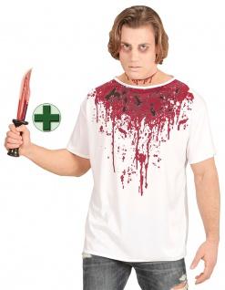 Horror Kostüm Herren blutiges T-Shirt Blut Zombie MIT Messer KK