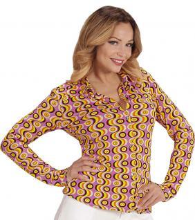 70er Jahre Kostüm Retro Bluse Hippie Hemd Damen lila gelb Karneval Damen-Kostüm