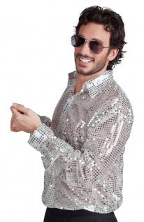 Pailletten-Hemd Disco-Hemd Schlagerhemd 80er Jahre Hemd silber Herren-hemd KK