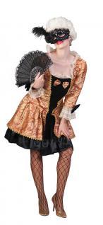 Rokoko Kostüm Damen Barock Damen-Kostüm Kleid kurz schwarz gold Viktorianisch KK