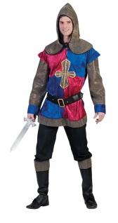 Ritter Kostüm Herren Tempelritter Mittelalter Herrenkostüm rot-blau Fasching KK