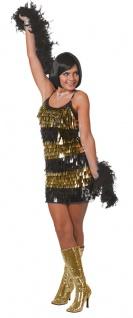 Disco Kostüm Damen 70er 80er Jahre Kleid Disco-Fever gold schwarz Fasching KK