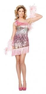 Charleston Kostüm 20er Jahre Kleid Damen Flapper mit Fransen Pailletten rosa KK