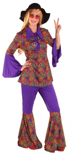 Hippie Kostüm Flower Power Damen Hemd Schlaghose 60er 70er Jahre Blumen Fasching