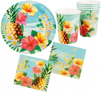 Sommer Party Deko Set Hawaii Blume Hibiskus 24 Teile: Teller, Becher, Servietten