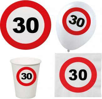 Party Set XL 44 Teile Geburtstag 30 Jahre Verkehrsschild