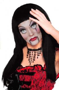 Perücke Hexe mit Pony Langhaar Hexenperücke schwarz Halloween KK