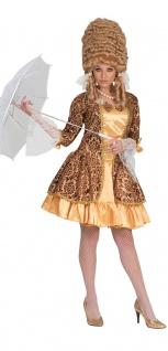 Rokoko Damen-Kostüm Barock Kostüm Damen Viktorianisches Kleid gold braun kurz KK