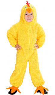 Karneval Klamotten Kostüm Hühnchen gelb mit Kopf Junge Mädchen Tier Kinderkostüm