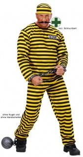 Sträflingskostüm Herren Sträfling Kostüm gelb schwarz mit Mütze Schnurrbart KK