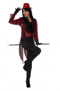Frack Pailletten Damen Kostüm rot mit Kragen Damenfrack Fasching Karneval KK